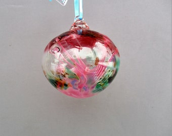 Hand Blown Glass Witch Ball/Ornament/Suncatcher,Art Glass, Multicolored - Small Size