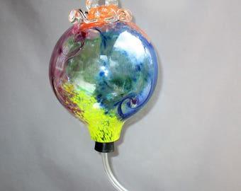 Hand Blown Art Glass Hummingbird Feeder