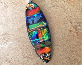 Radiant Fused Dichroic Glass Necklace - Dichroic Jewelry - Colorful Fused Pendant - 33-16