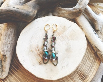 SPRING- Turquoise, Moonstone, Pyrite, and Pearl Statement Bohemian Dangle Earrings