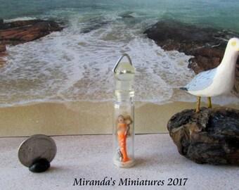 oOAK Dollhouse MINIATURE  orange Mermaid in a bottle Necklace