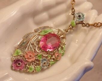 Art Deco Enamel Pink Stone Flowers Necklace Open Woek Art Deco necklace Art Deco Jewelry Lariat Necklace