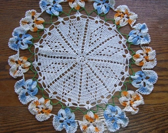 Hand Crocheted Round Blue and Gold Floral Edge, Table Decor, Vintage Textiles, Designer, Needle Art, Parlor Table, Room Decor, Shabby Chic