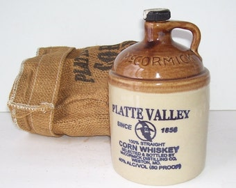 McCormick Platte Valley Corn Whiskey Jug with Burlap Cover, 100% Straight Whiskey Jug, Home Bar, Bar Accessories