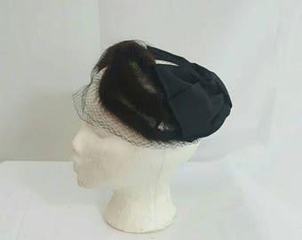 Vintage 1950s Mink Fur Netted Bird Cage Black Cocktail Hat Fascinator