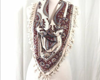 Vintage Arabic Hand Blocked Printed Spanish Scarf