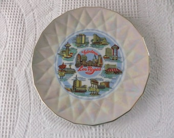 Vintage Las Vegas Souvenir Plate Decorative Collector Nevada Iridescent Travel Vacation Gambling Japan Sticker