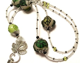 Leafy Green Glass Lampwork Beads: Lanyard ID Badge. Gift for Teachers, Nurses, Government Workers