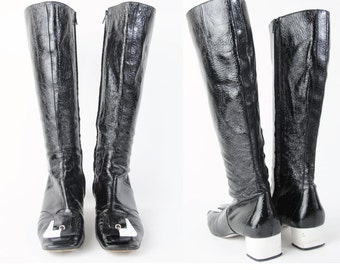 1990s Vintage EMILIO PUCCI Boots Mod Go Go Boots Black and White Two Tone Boots Plastic Buckle Knee High Patent Leather Boots Size 8.5 E627