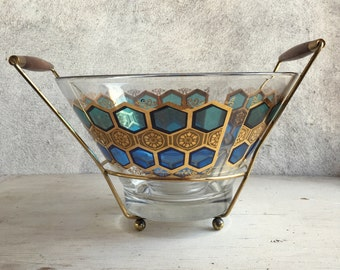 Mid Century glass chip and dip bowls with teak metal stand 50s decor Atomic serving set