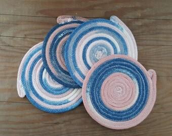 Hand Dyed Indigo and Quebracho Rope Coaster Set of 4