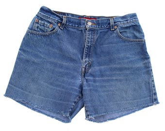 Vintage Levi's 550 Classic Relaxed Denim Cutoffs Size 14 fits like 30 Redone Shorts High Rise Levis #1