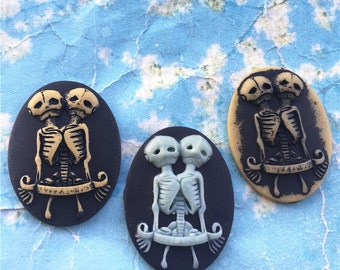 10pcs 40x30mm assorted Skull Twins oval resin cabochon/cameos/cabs
