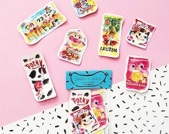 SALE Japanese Snacks Water Proof Sticker Pack -Set of 7 - Vinyl Stickers - Hand Drawn Sticker - Handmade Sticker - Snacks Sticker