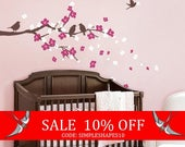 Sale - Cherry Blossom Branch with Birds - Kids Vinyl Wall Sticker Decal Set