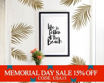 Memorial Day Sale - Palm Leaves Wall Decal for Baby Nursery or Home, Tropical Leaves Wall Decal, Nursery Wall Decals, Tree Wall Stickers