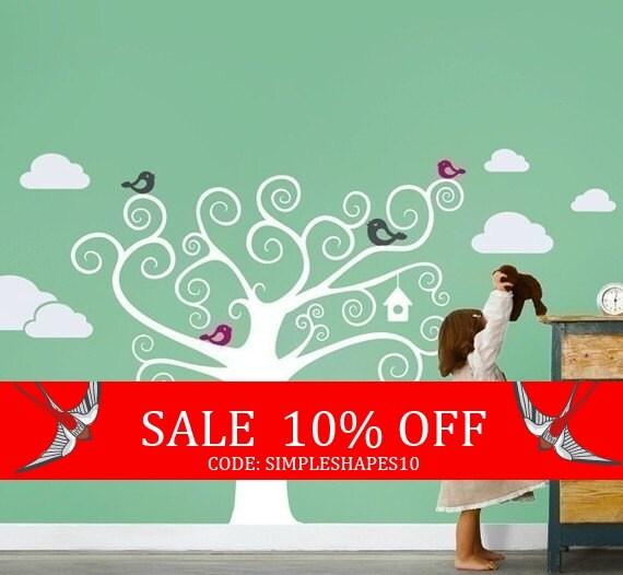Sale - Swirly Tree with Cute Birds Decal - Kids Vinyl Wall Sticker