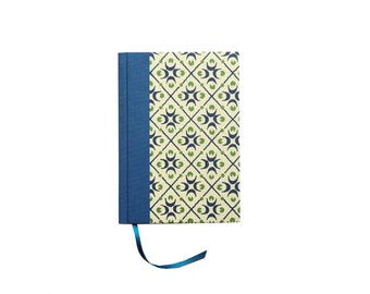 small Day Planner 2018, ivory blue graphic pattern Daily Planner, A6 Calendar Book