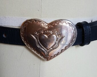 vintage Justin cowgirl belt, full of hearts