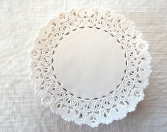 """60 4"""" white lace paper doilies, doily, scrapbooking, wedding decor, gift wrap packaging, card making, supplies, lace doilies, embellishments"""