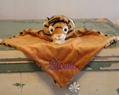 Personalized monogram tiger blankie/security blankie/small blanket