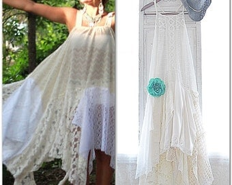 Winter white Bohemian gypsy Music Festival Stevie Nicks style dress, The Joplin hippie Boho dresses, Bohemian dress, True rebel clothing
