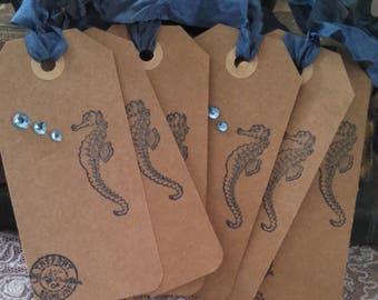 paris postmark coastal chic beachy seahorse tags lot of 6