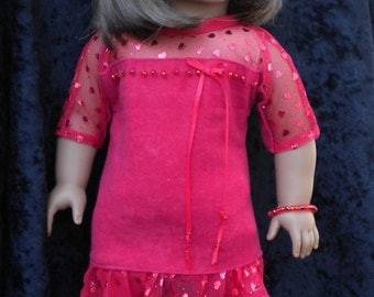 """Red-y tunic and legging set for American Girl or other 18"""" dolls"""