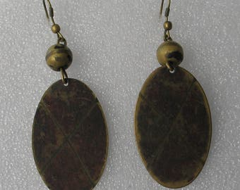 "3"" Brass Patina  Dangle Earrings"