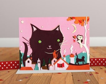 Cat Card - Cat Illustration Greeting Card - Owl Card - Animal Friends Card - Pink Card