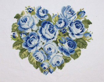 New Finished Completed Cross Stitch - Roses - Blue roses -