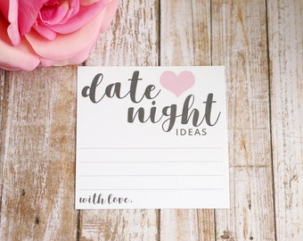 Date Night Cards - Date Night Ideas - Date Night Jar Suggestion Card - Modern Script - 4x4 Inch Square Idea Card