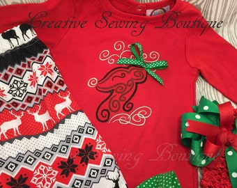 Christmas girls outfit, Reindeer ruffle outfit, Santa, Christmas, reindeer embroidered, Outfit with hairbow, headband size Newborn to 5T