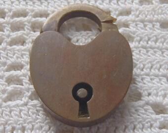 Vintage Brass Heart Padlock
