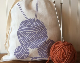 Organic Linen Drawstring Bag, Knitting Project Bag, Yarn Balls Design
