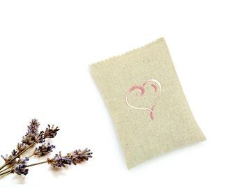 Heart sachet, lavender sachet embroidered pink heart, organic lavender sachet gift under 10, girlfriend gift scented drawer freshener