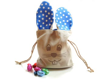 Easter bunny bag, egg hunt bag, drawstring linen pouch, blue polka dots, small gift bag, Easter basket filler, candy bag