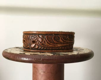 WONKY HANDSTAMPED CUFF - bracelet - personalized by Farmgirl Paints - distressed brown leather cuff with embossed floral scroll design