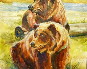 Bears in Nature Painting Art Print by Maure Bausch