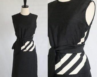 Vintage 1960s Dress 60s Dress Black Cocktail Dress Linen Dress Womens Black Dress Top and Skirt Size Medium