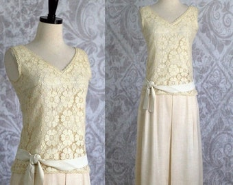 Off White Lace Dress 1960s Dress 60s Dress Semi Formal Dress Lace Party Dress 1960s Cocktail Dress Top and Skirt Womens Size XS SM