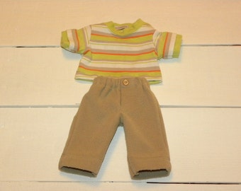 Tan Fleece Pants and Striped Tshirt - 14 - 15 inch boy doll clothes