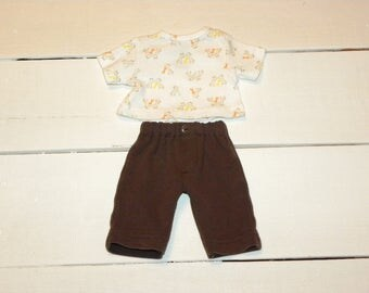 Brown Knit Pants and Giraffe Patterned T shirt - 12 inch boy doll clothes