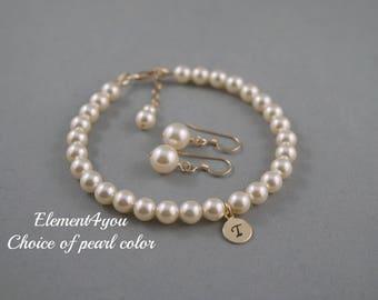 Bridesmaid Pearl Bracelet Earring Set Flower Girl Bracelet 14k gold filled Initial Round Charm Bracelet, Personalized gift, Wedding Jewelry