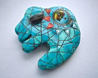 Buffalo Pendant, Turquoise Pendant, Native American Focal Bead, Polymer Clay, Primitive Bead, Buffalo Fetish, Custom Jewelry, Wearable Art