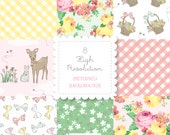 Spring PATTERNED BACKGROUND set-instant download-for personal and commercial use -digital papers, gingham, check, calico, roses, floral