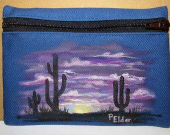Painted coin purse small pouch card case phone case or billfold