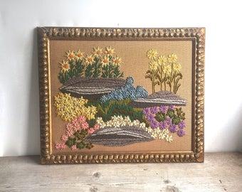 Vintage Embroidery Crewel Needlework Floral Framed 1960s Gold Frame