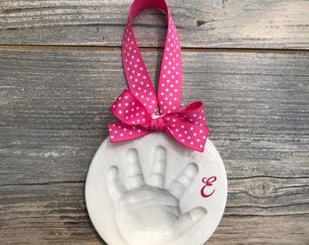 Personalized Baby Handprint - Baby Girl Monogram Keepsake - Custom Baby Christmas Ornament - Ceramic Hand Print - Baby Handprint Mold Kit