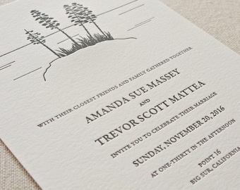 Big Sur Wedding Invitation, Letterpress printed SAMPLE
